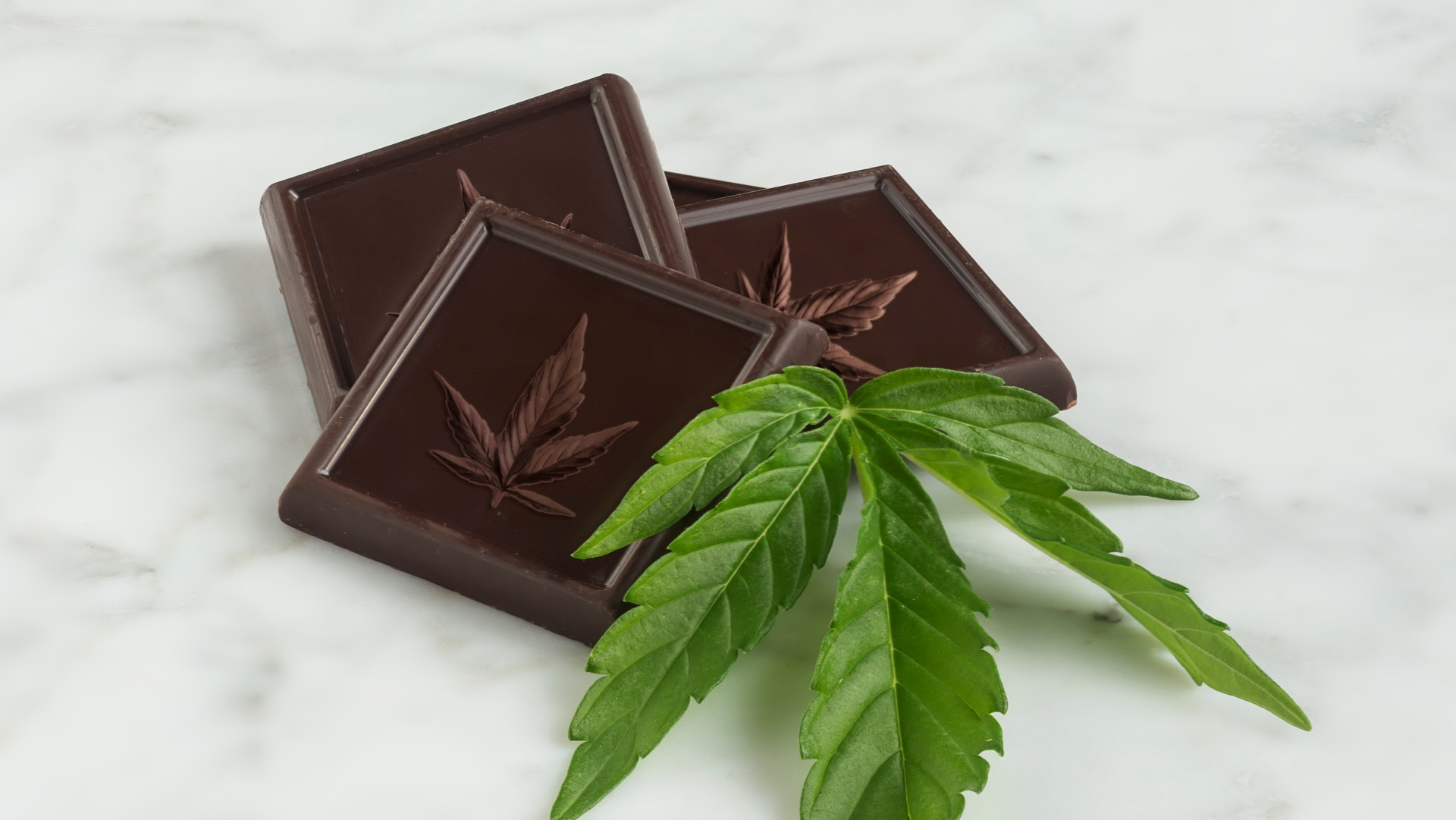 iStock photo of edible cannabis chocolate bar with cannabis leaf