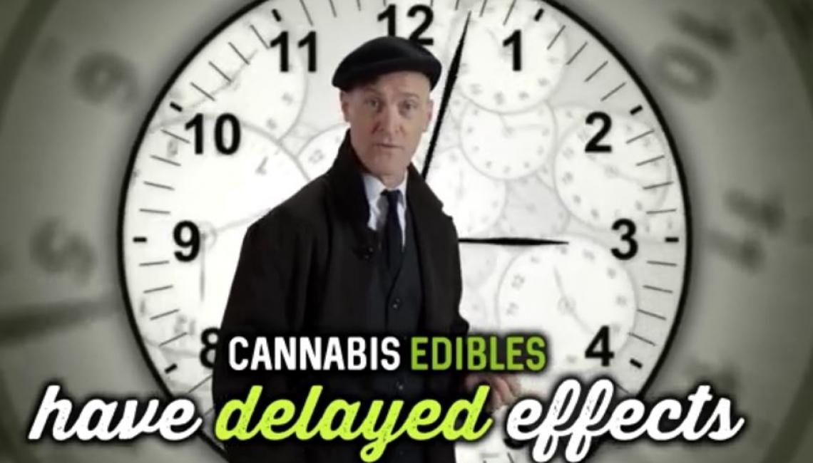 Actor standing in front of large clock with text: Cannabis edibles have delayed effects